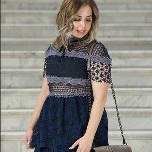 03cdae2388c9 Choies Dresses   Navy Blue Mesh Panel 3d Floral Lace Dress   Poshmark